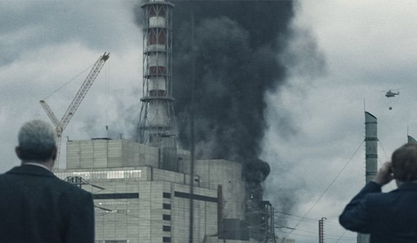 Smoke rising from reactor 4 on the HBO miniseries Chernobyl