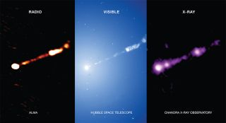 The region around the supermassive black hole at the center of the M87 galaxy, as seen in radio, visible and X-ray wavelengths by the ALMA telescope array and NASA's Hubble and Chandra space telescopes, respectively.