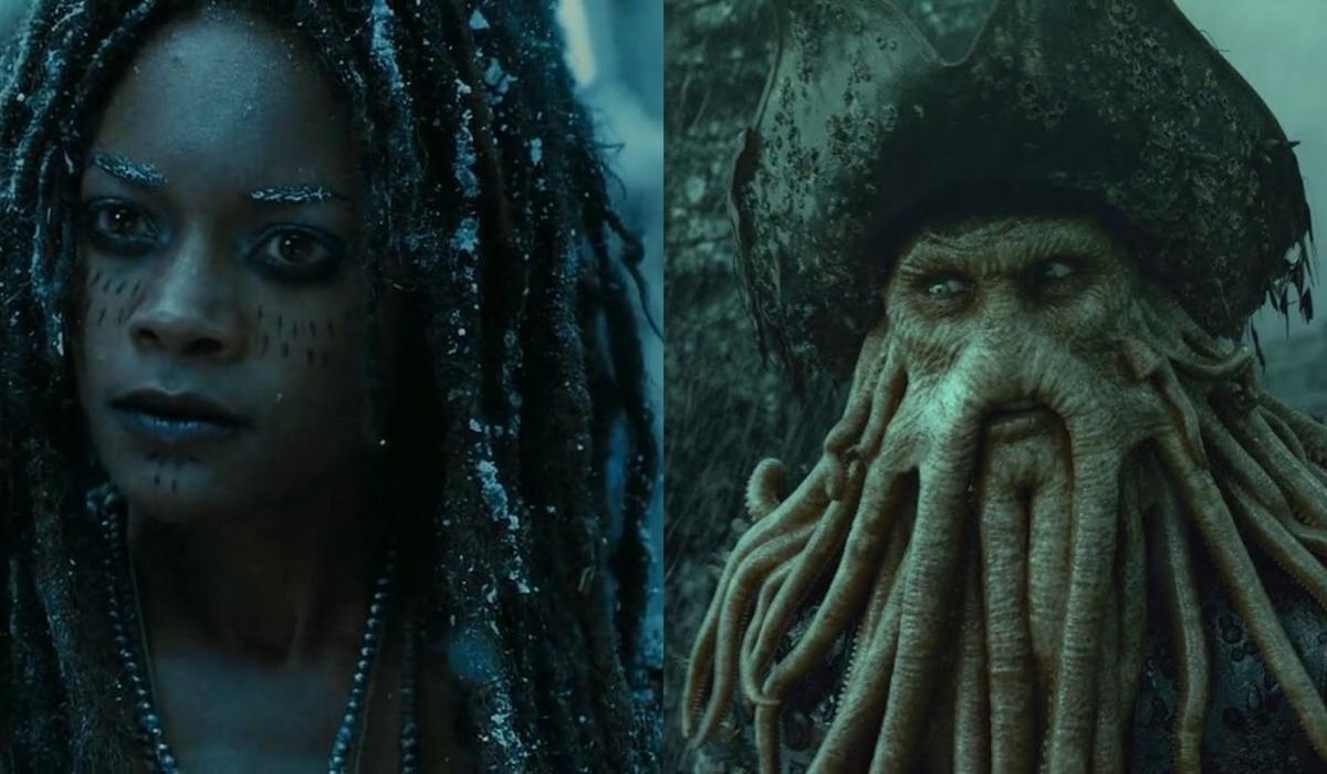 Naomie Harris as Tia Dalma/Calypso and Bill Nighty as Davy Jones in Pirates of the Caribbean