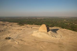 At least part of the Meidum pyramid, located south of Cairo in Egypt, was built for the pharaoh Snefru.