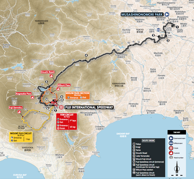 Tokyo 2020 Olympic road race route profile