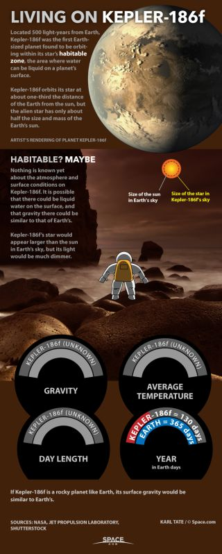 Chart speculates about conditions on Kepler-186f, a planet of another star.