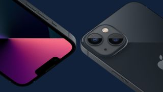 Two different angles of the iPhone 13