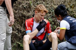 Jack Haig (Bahrain Victorious) after crashing on stage of the 2021 Tour de France