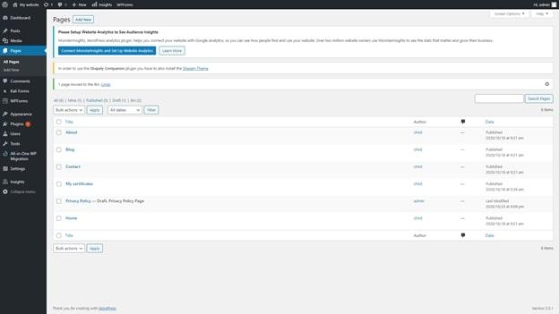 Tableau de bord de WordPress affichant le menu Pages