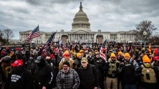Pro-Trump rioters gather in front of the U.S. Capitol Building on Jan. 6, 2021 in Washington, D.C.