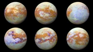 Six images of Saturn's moon Titan that incorporate 13 years of data gathered by NASA's Cassini spacecraft.
