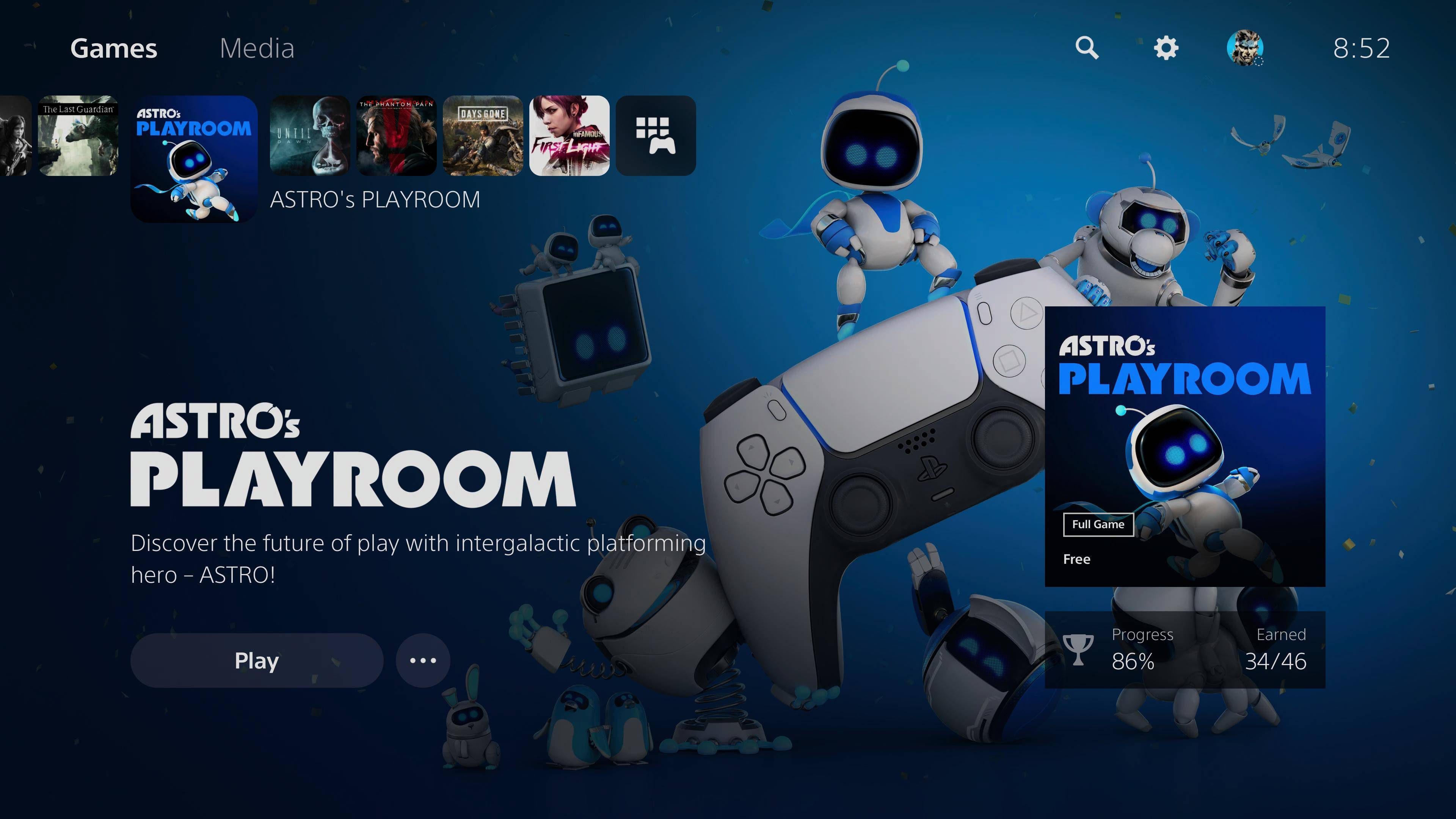 Astro's Playroom PS5 screen