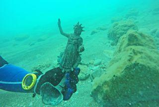 small statue of moon goddess Luna from a Roman-era shipwreck.
