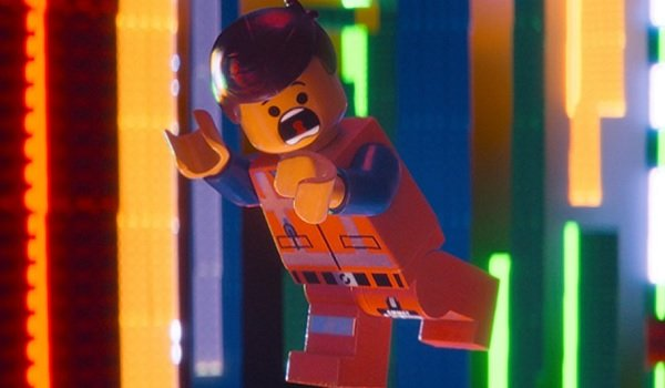 The Lego Movie Emmet falling through a colorful brick void