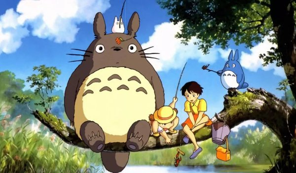 My Neighbor Totoro Totoro and his friends sitting on a branch in the woods