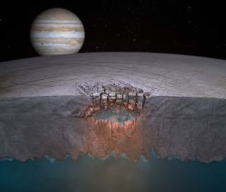 Scientists think lakes of liquid water may be hiding under the surface of Jupiter's moon Europa.
