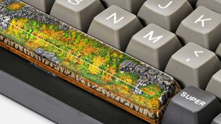 Jellykey Born of Forest series spacebar keycap depicting a forest scene