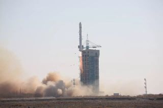 A Chinese Long March 2D rocket launches a land survey satellite into orbit from Jiuquan Satellite Launch Center in the Gobi desert on Jan. 12, 2018.