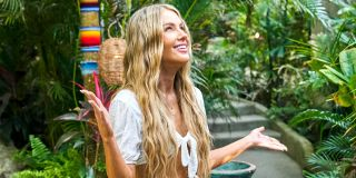 Victoria Paul looks to the sky as she enters Bachelor in Paradise