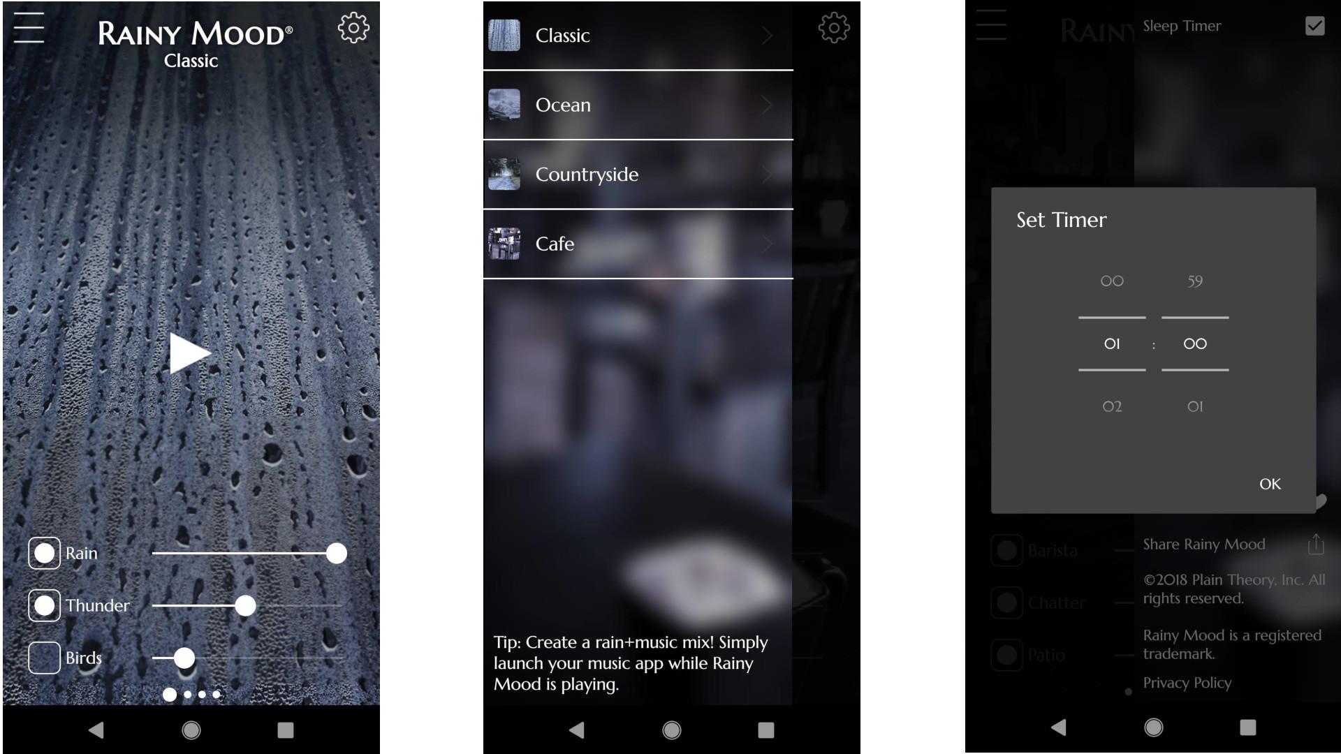 Screengrabs from Rainy Mood app