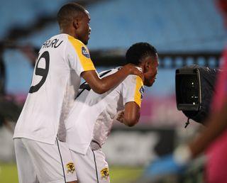 Rodrick Kabwe of Black Leopards celebrates his goal with teammates