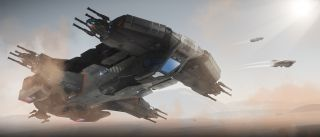 An image of a Hammerhead space ship from the game star citizen.
