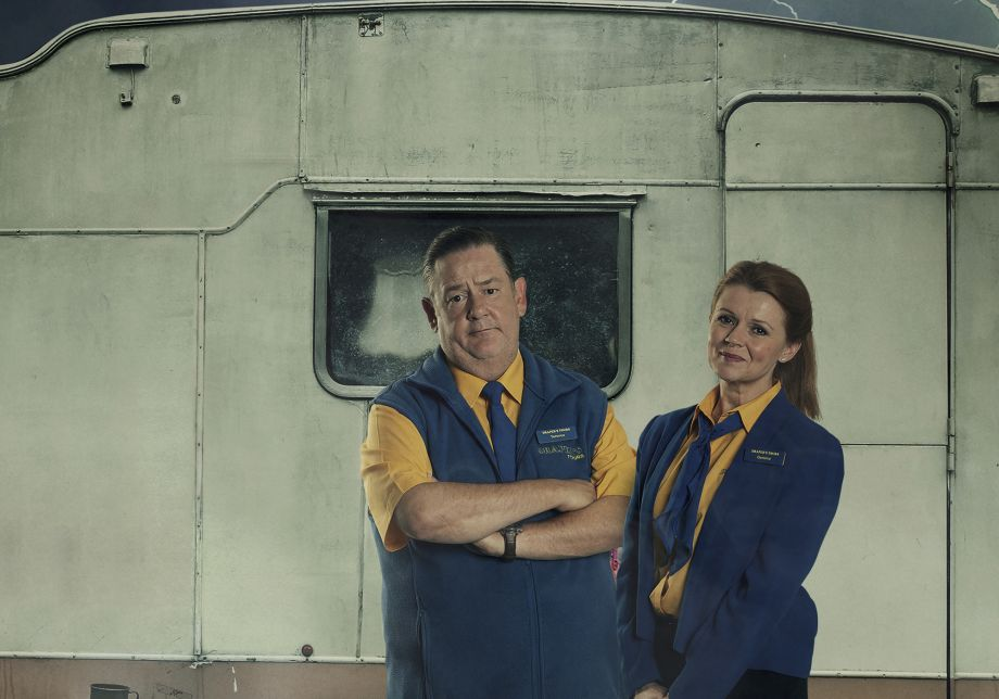 Johnny Vegas and Sian Gibson in Dial M for Middlesbrough