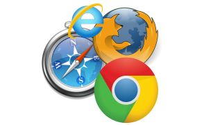 Icons of Internet Explorer, Firefox and Chrome in front of a compass