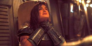 Gina Carano as Cara Dune in Baby Yoda Force choke scene The Mandalorian Chapter 7