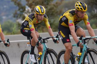 Wout van Aert follows Jumbo-Visma teammate Tony Martin on the opening stage of the 2020 Tour de France in Nice