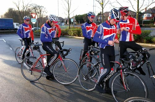 British Cycling's Olympic Academy training ride near their base in Manchester
