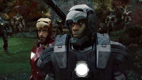 Iron Man and War Machine ready to face down an army of robots.