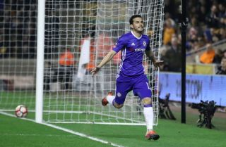 Pedro celebrates his goal against Wolves