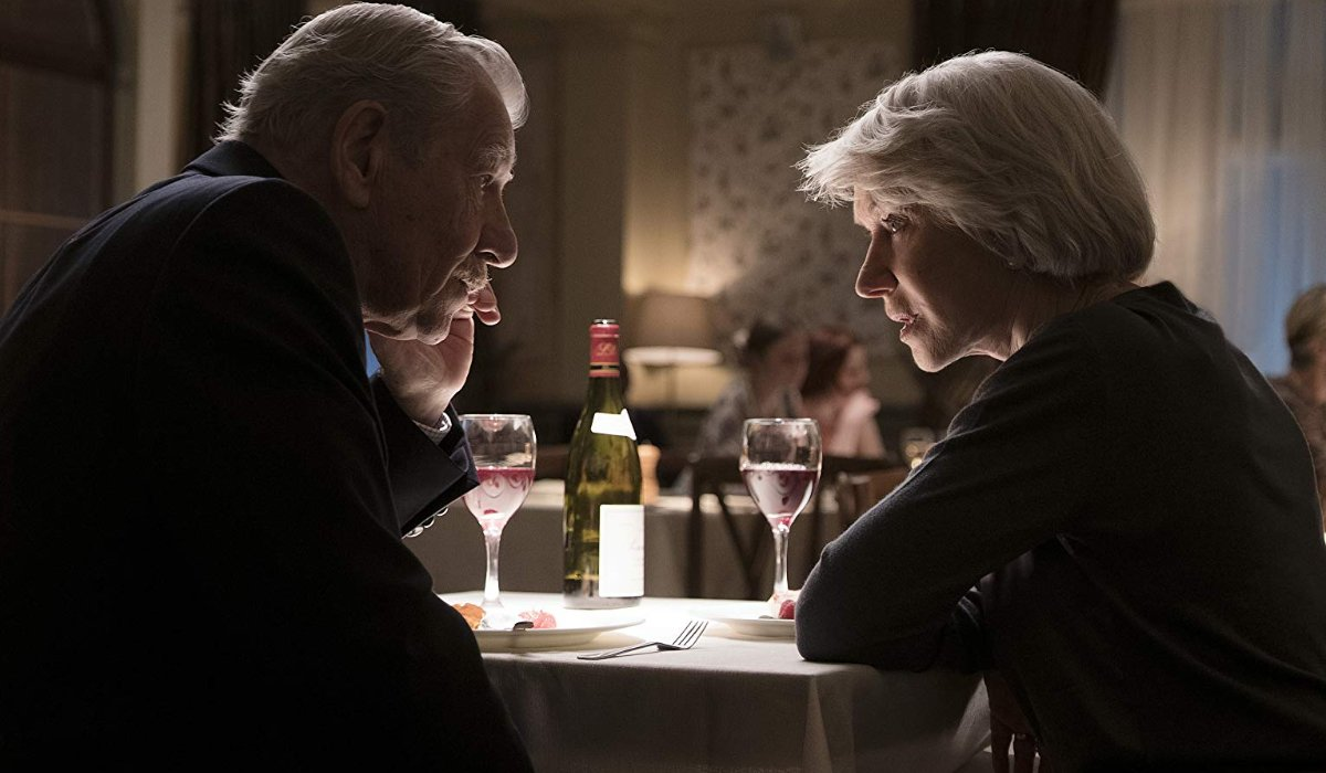 The Good Liar Ian McKellan and Helen Mirren having a discussion over some wine