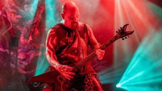 "Kerry King of Slayer plays his new Dean signature guitar as they perform their final tour, ""The Final Campaign, The Last Leg"" at Madison Square Garden on November 09, 2019 in New York City."