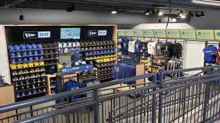 Adjacent to the Golden State Warriors' new home arena in San Francisco is the flagship Warriors Shop, which recently opened with a network of screens capable of switching between multiple video sources.
