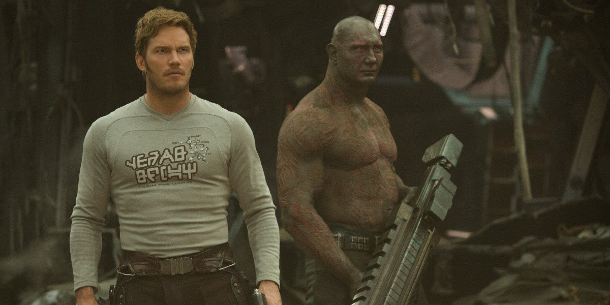Starlord and Drax surveying the area after hearing a noise in Guardians of the Galaxy Vol. 2