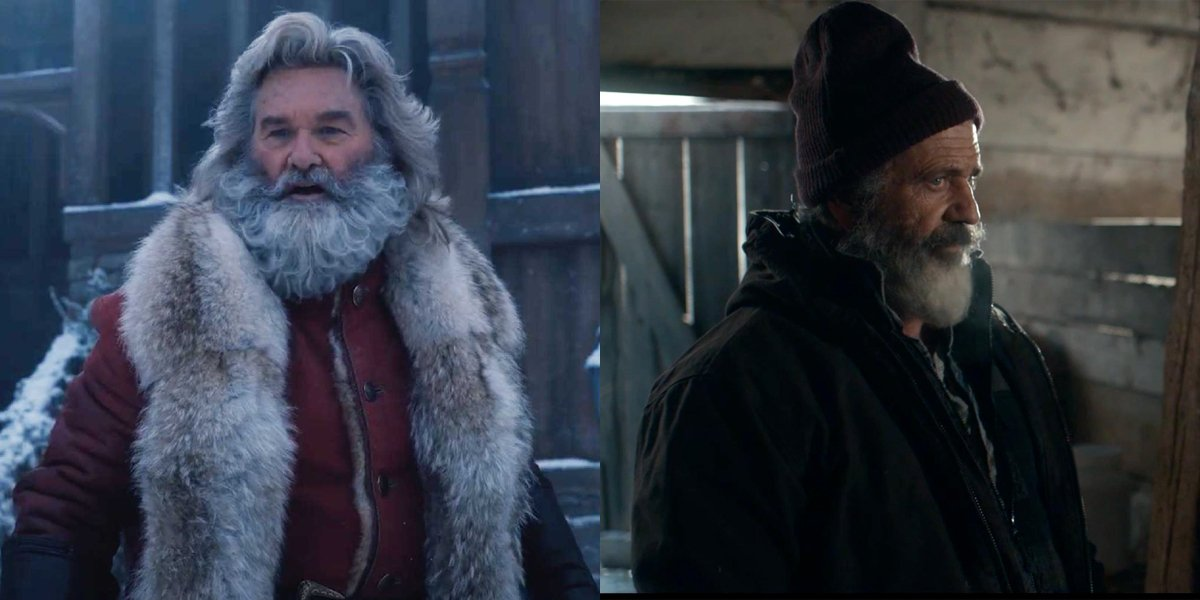 Kurt Russell and Mel Gibson's Santas side by side