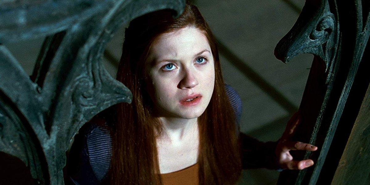 Ginny Weasley watching the assault on Hogwarts