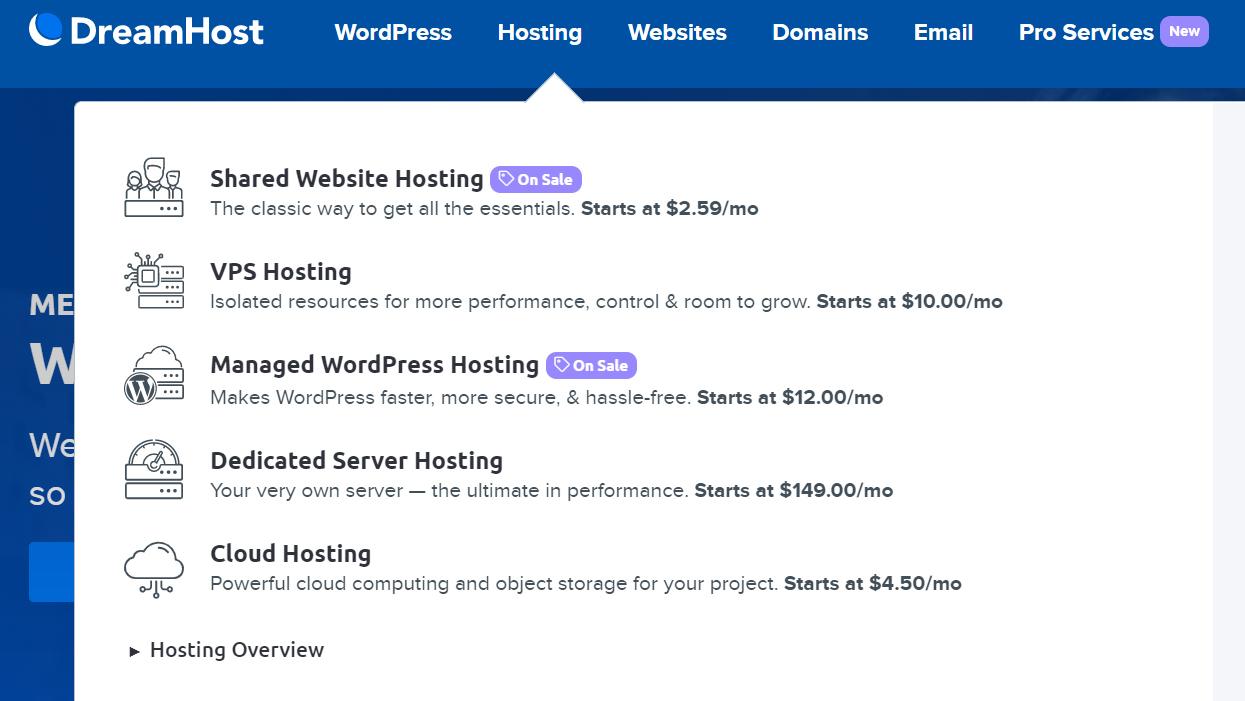 DreamHost hosting types