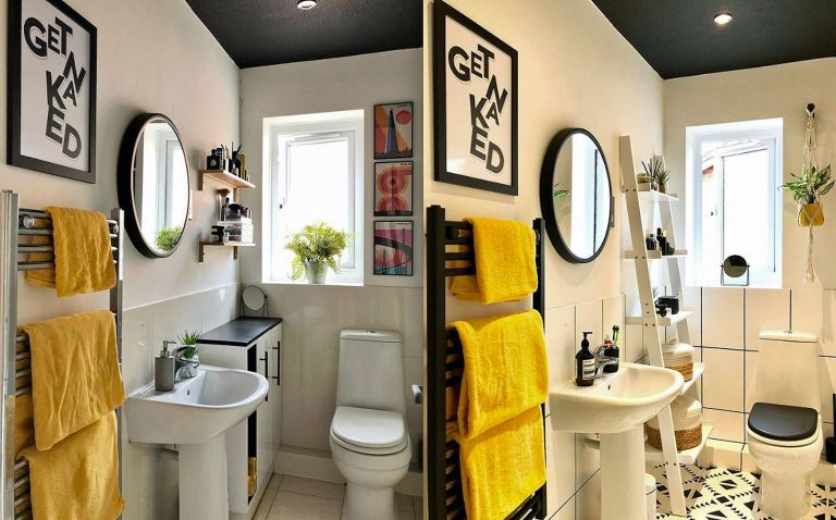 Bathroom makeover with tile paint
