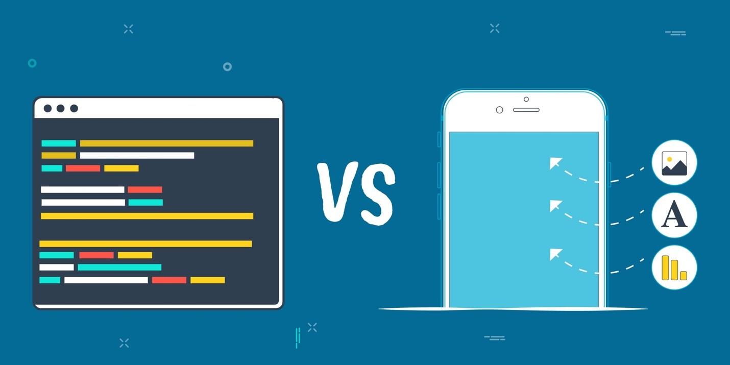 Una imagen comparativa de desarrollo de aplicaciones code vs no code