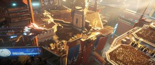 An image of a towering futuristic city in the sunlight from the game Star Citizen.