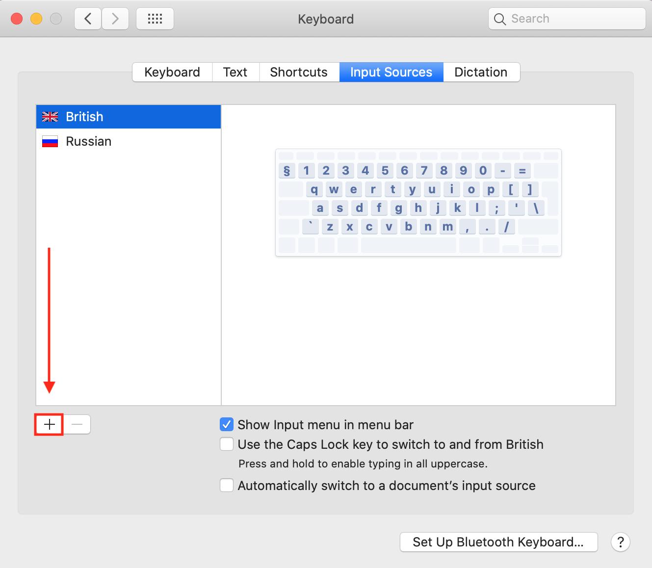How to change keyboard language on Mac - plus icon