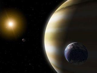 Exomoon at gas planet art