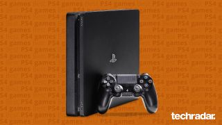 Best PS4 games: a PlayStation 4 on an orange background