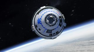 An artist's illustration of Boeing's CST-100 Starliner spacecraft in orbit. Starliner will return to Earth Sunday, Dec. 22, with a landing at White Sands Space Harbor in New Mexico.