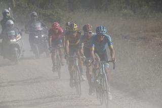 Strade Bianche 2020 - 14th Edition - Siena - Siena 184 km - 01/08/2020 - Jakob Fuglsang (DEN - Astana Pro Team) - Wout Van Aert (BEL - Team Jumbo - Visma) - Maximilian Schachmann (GER - Bora - Hansgrohe) - Alberto Bettiol (ITA - EF Pro Cycling) - Davide - photo Luca Bettini/BettiniPhoto©2020