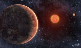 Artist's illustration of the GJ 273 system, which consists of a red dwarf star and two known planets, one of which may be capable of supporting life.