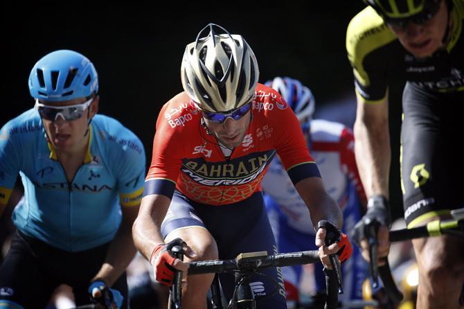 Vincenzo Nibali (Bahrain Merida) on the attack at Fleche Wallonne