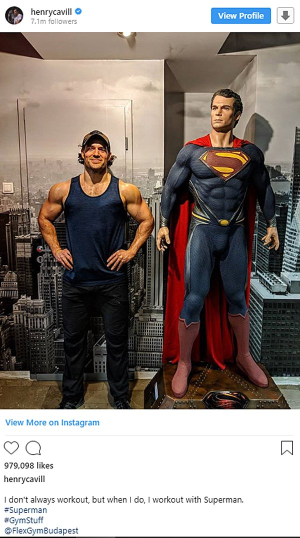Henry Cavill Instagram photo with Superman statue
