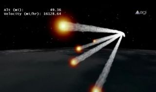 This still from an animation by Analytical Graphics, Inc., depicts the re-entry of Germany's defunct ROSAT satellite in October 2011.