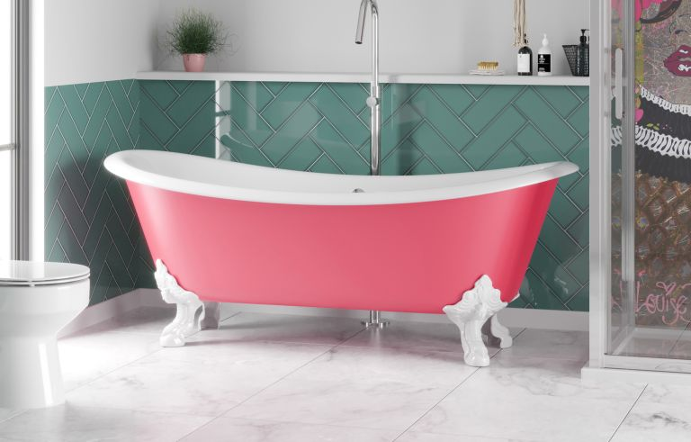 roll top bath in a bathroom makeover