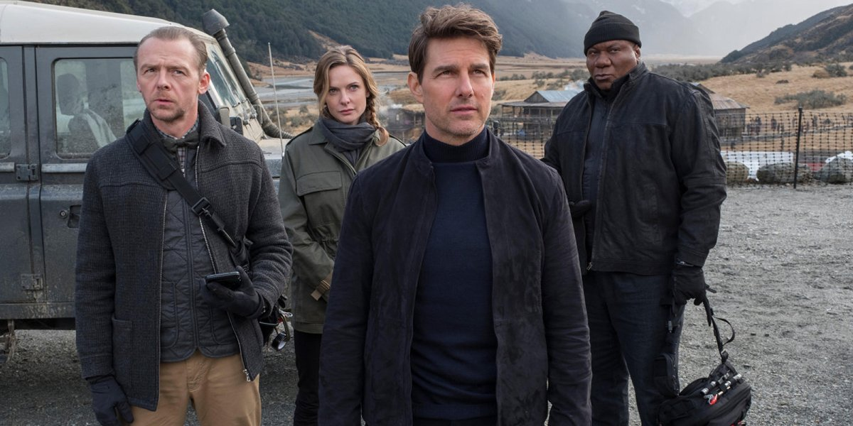 Simon Pegg, Rebecca Ferguson, Tom Cruise, and Ving Rhames in Mission: Impossible - Fallout